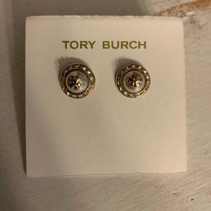 Tory Burch pearl logo earrings